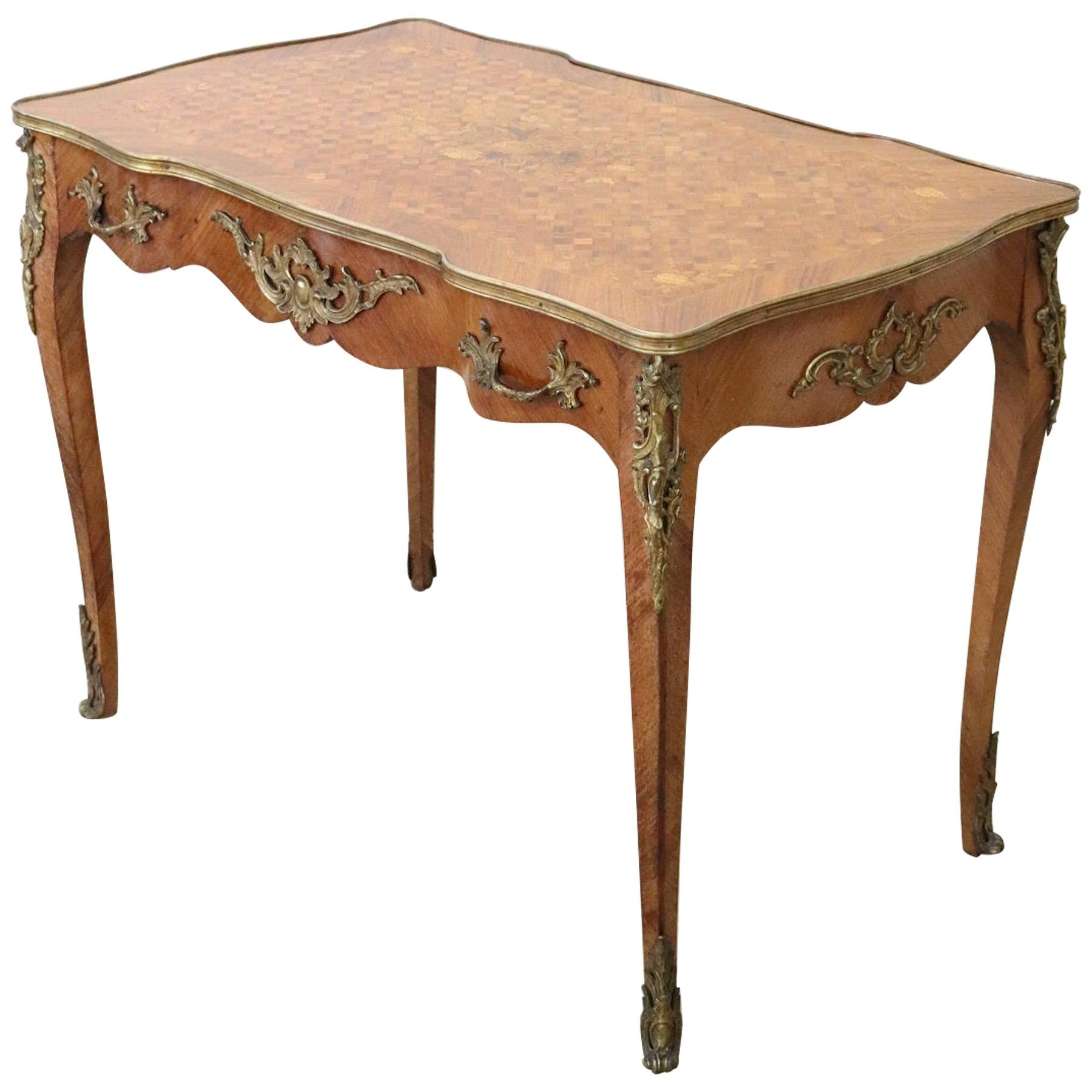 19th Century Napoleon III Marquetry and Gilded Bronze Writing Desk