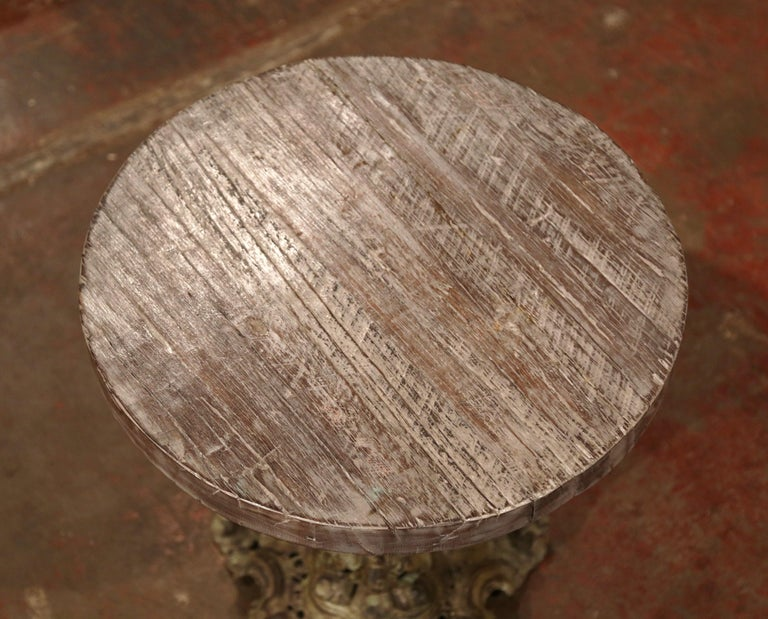 Patinated 19th Century Napoleon III Verdigris Iron Pedestal Table with Weathered Wood Top For Sale