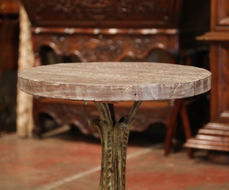 19th Century Napoleon III Verdigris Iron Pedestal Table with Weathered Wood Top For Sale 1