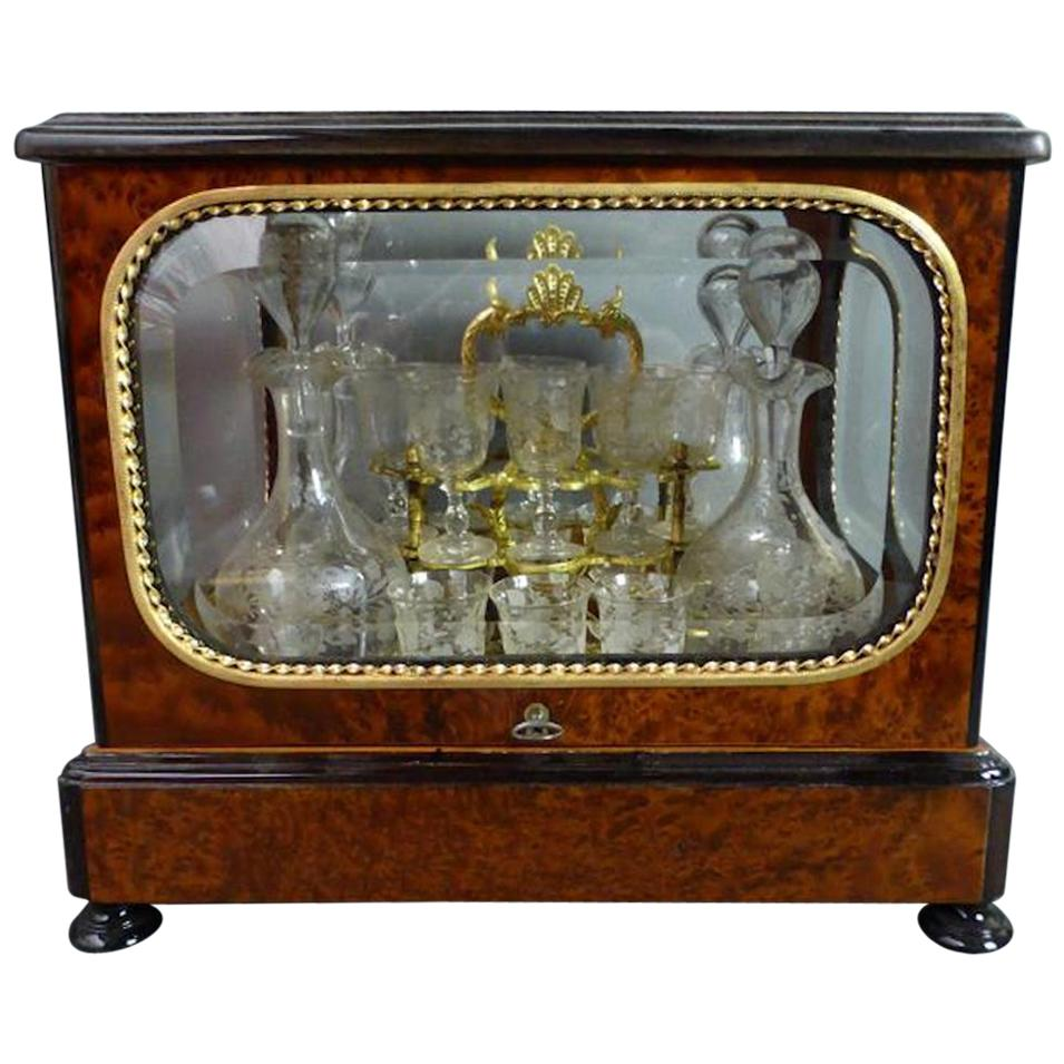 19th Century Napoleon III Wood Marquetry and Beveled Glasses Liquor Cellar