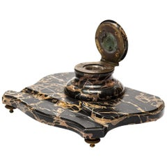 19th Century Napoleonic Marble and Bronze Inkwell