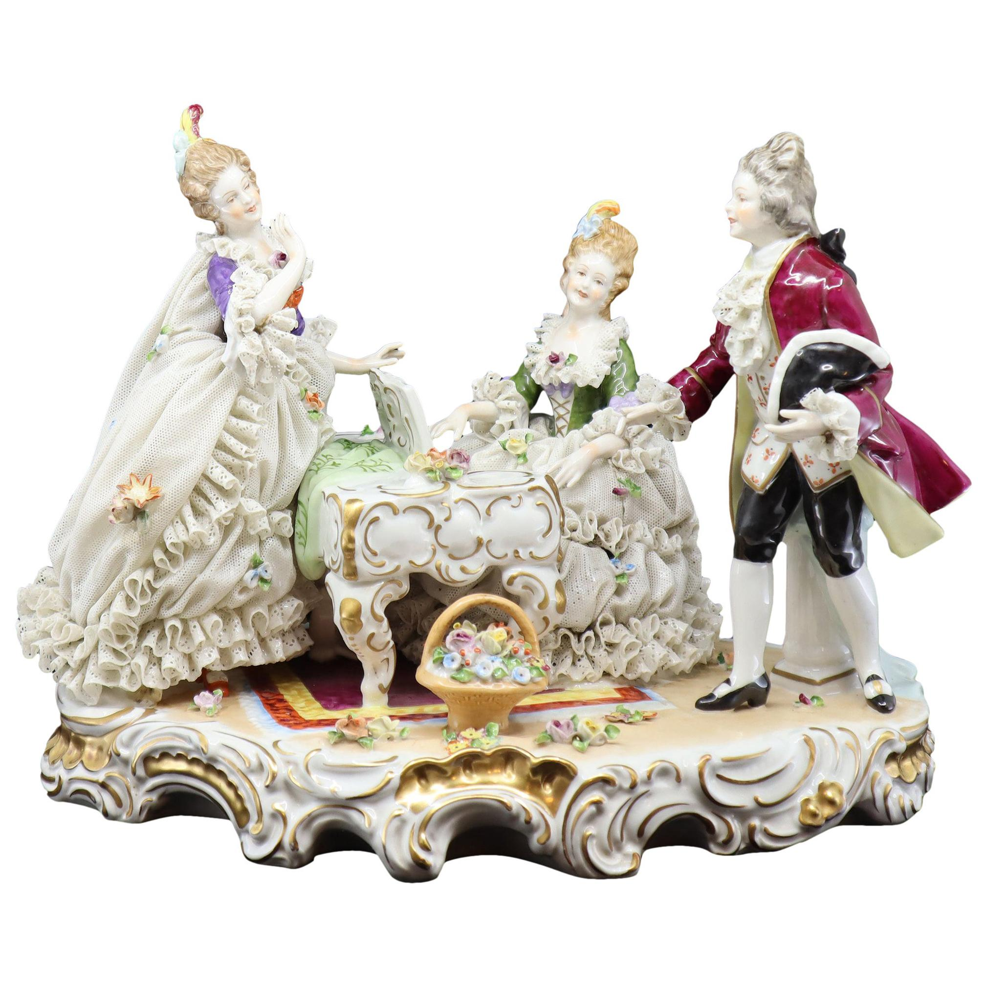 19th Century, Napoli Hand Painted Porcelain Figure Musical Group