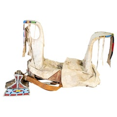 19th Century Native American Crow Beaded Saddle