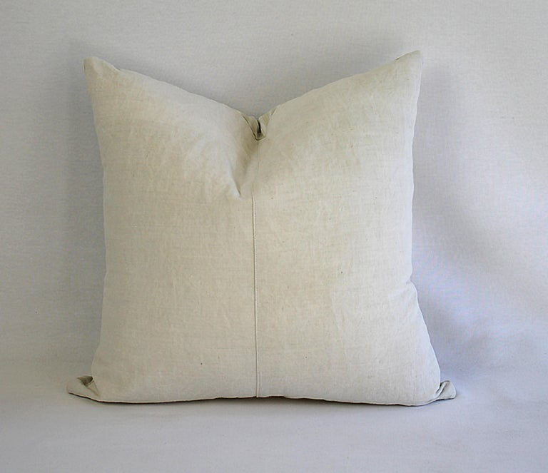 19th Century Natural French Ticking Pillow For Sale 8