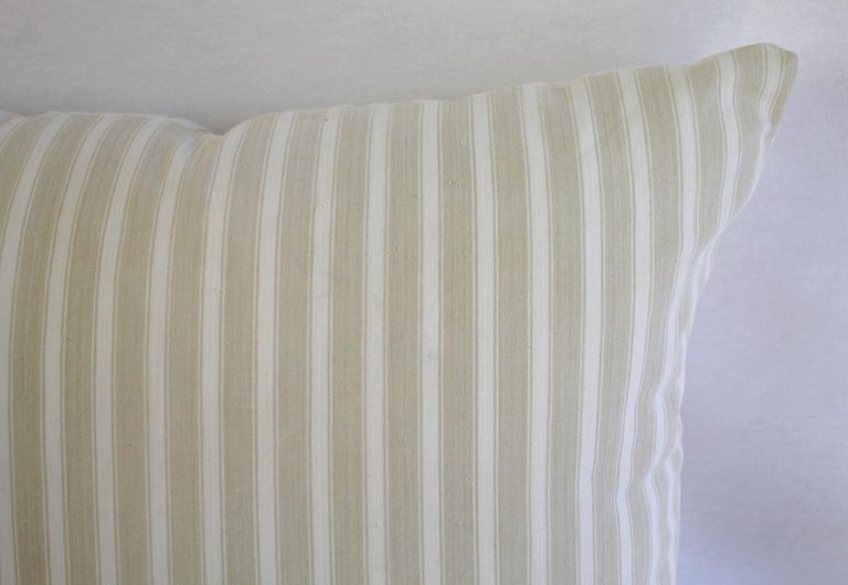 European 19th Century Natural French Ticking Pillow For Sale