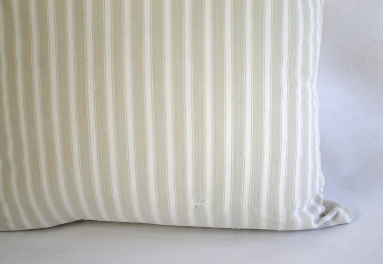 Cotton 19th Century Natural French Ticking Pillow For Sale