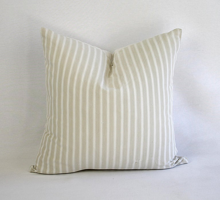 19th Century Natural French Ticking Pillow For Sale 2