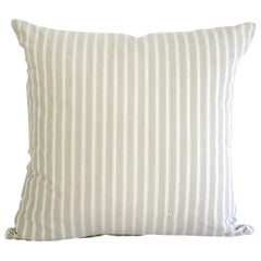 19th Century Natural French Ticking Pillow