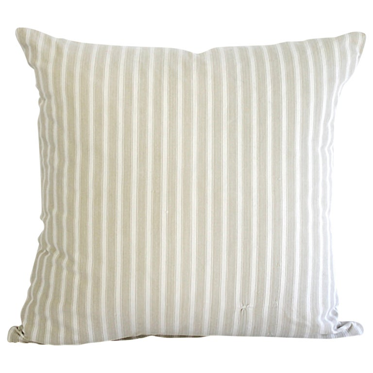 19th Century Natural French Ticking Pillow For Sale
