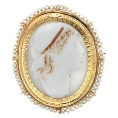 19th Century Natural Pearl Cameo Yellow Gold Brooch