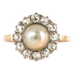 19th Century Natural Pearl Diamonds 18 Karat Rose Gold Daisy Ring