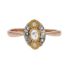 19th Century Natural Pearl Diamonds 18 Karat Rose Gold Marquise Ring