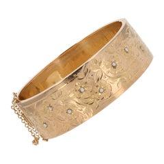 19th Century Natural Pearl Floral Pattern 18 Karat Rose Gold Bangle Bracelet