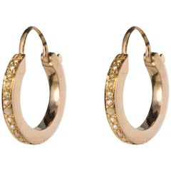 19th Century Natural Pearl Rose Gold Hoop Earrings