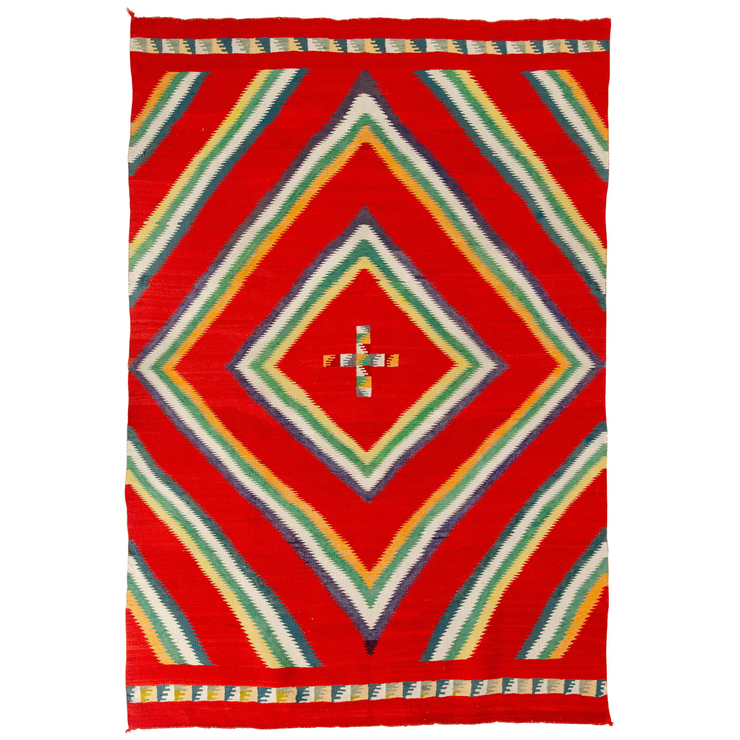 19th Century Navajo Germantown 'Eye Dazzler' Woven Rug or Wall Hanging