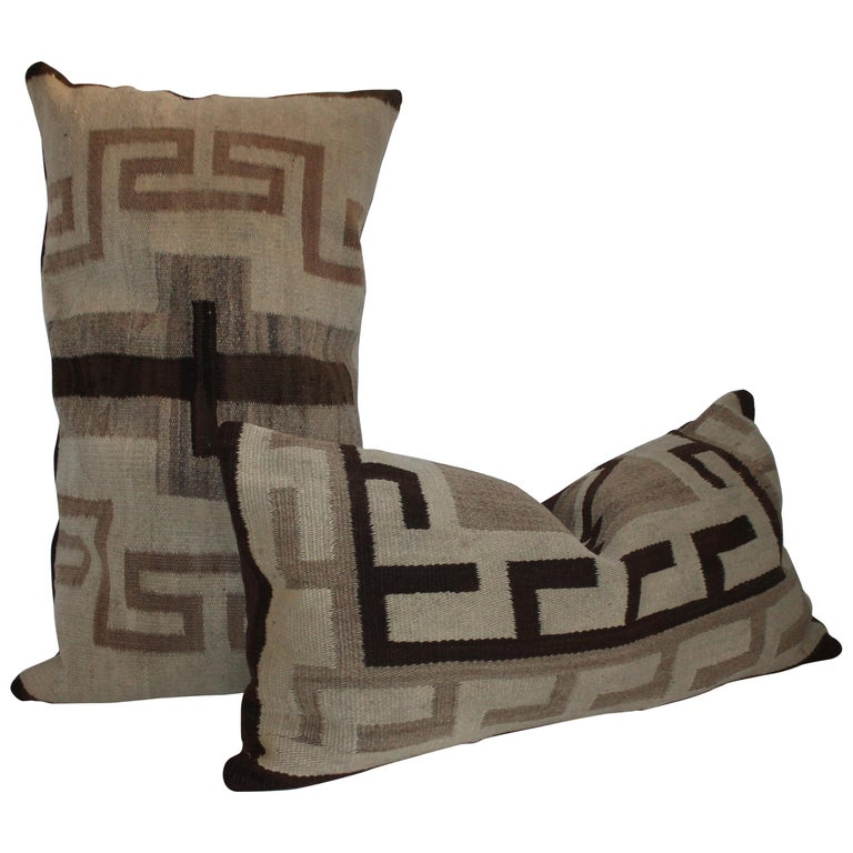 19th Century Navajo Indian Weaving Transitional Pillows For Sale