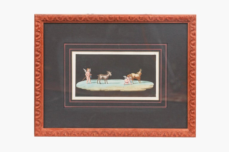 Neoclassical 19th Century Neapolitan Pair of Paintings on Paper, in the School of Michaelange For Sale