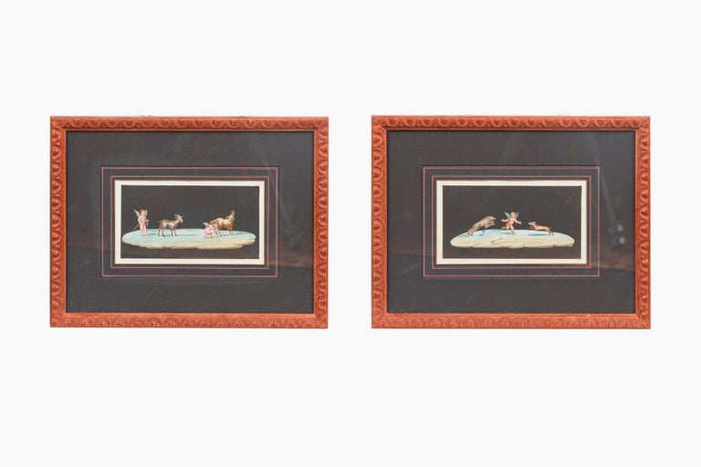 Italian 19th Century Neapolitan Pair of Paintings on Paper, in the School of Michaelange For Sale