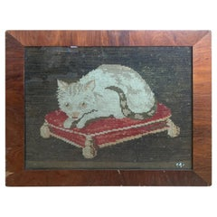 19th Century Needlework Cat in Burled Wood Frame