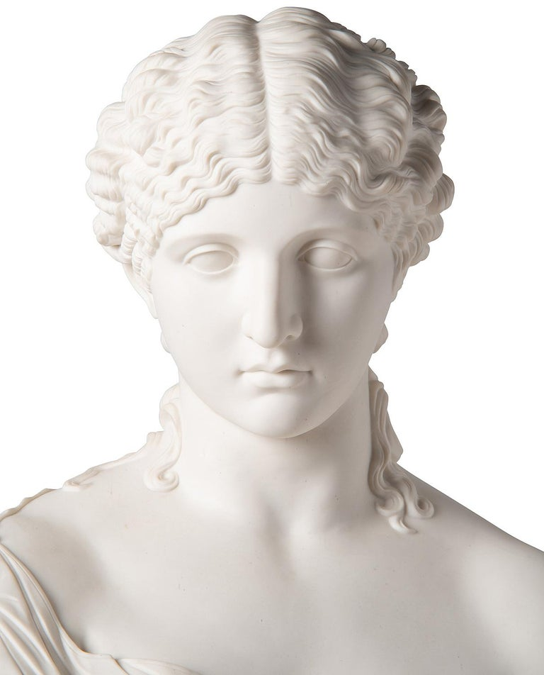 19th Century Neoclassical Female Parian Bust For Sale 5