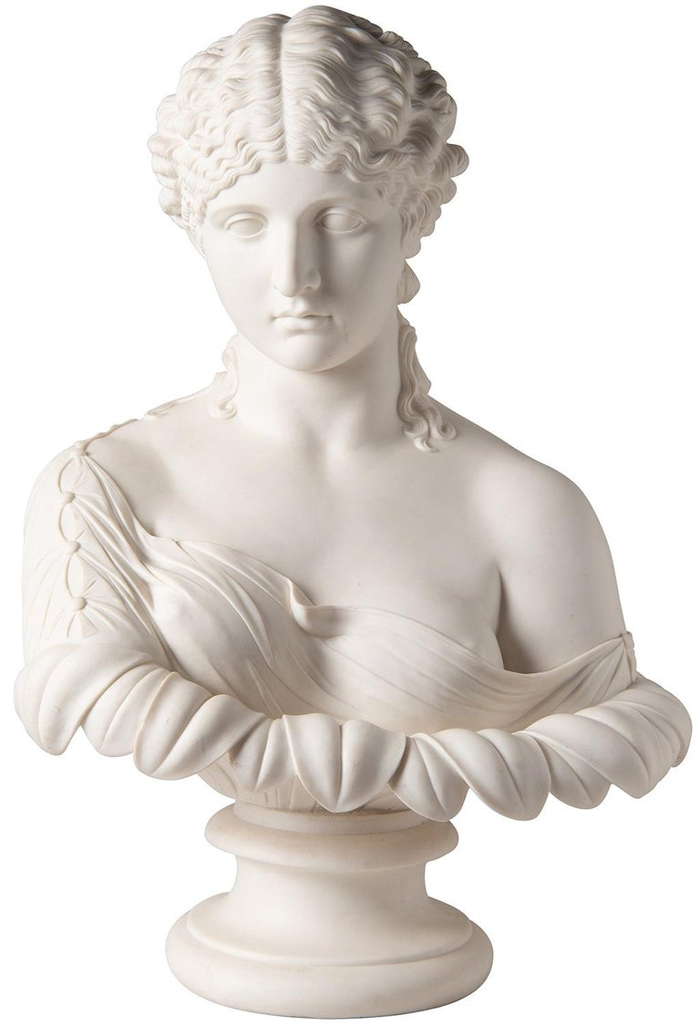 19th Century Neoclassical Female Parian Bust For Sale 6