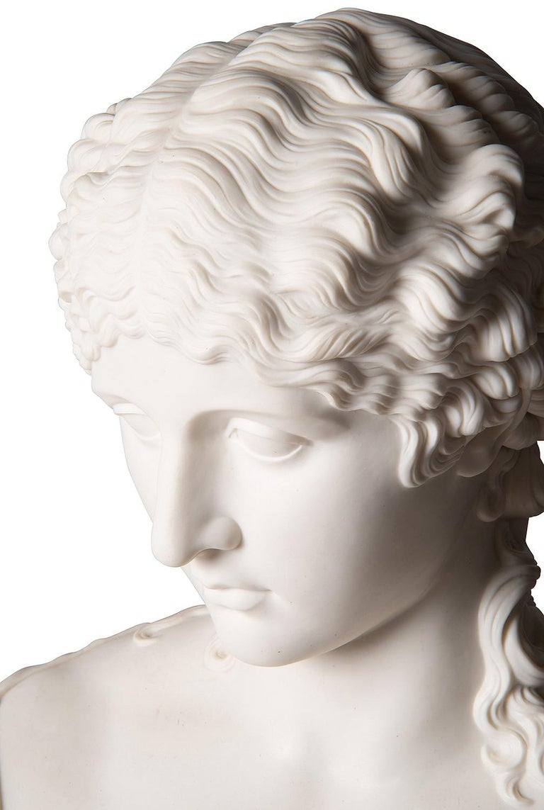 French 19th Century Neoclassical Female Parian Bust For Sale