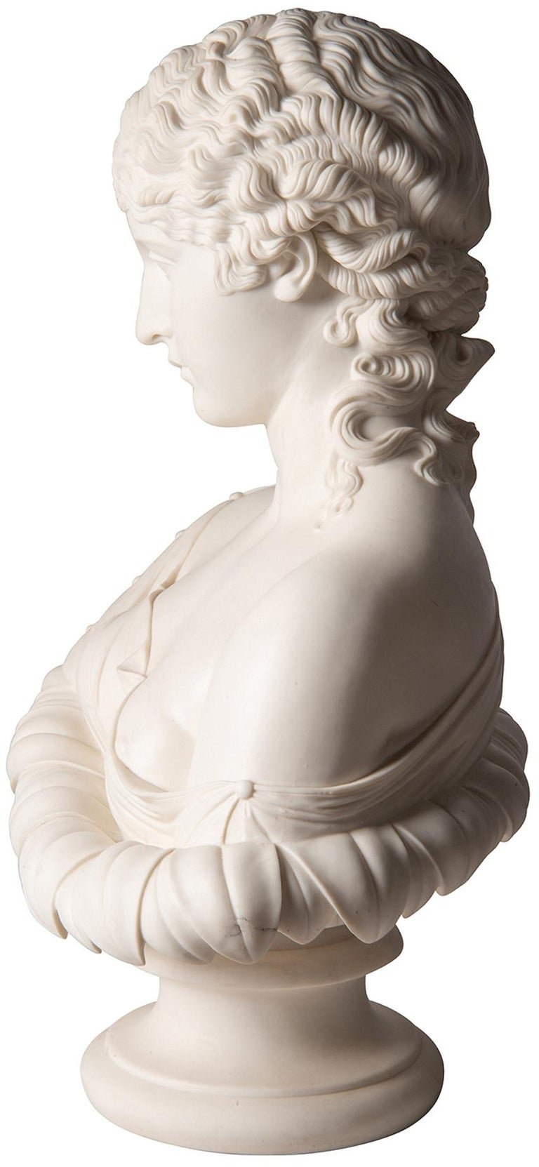 Porcelain 19th Century Neoclassical Female Parian Bust For Sale
