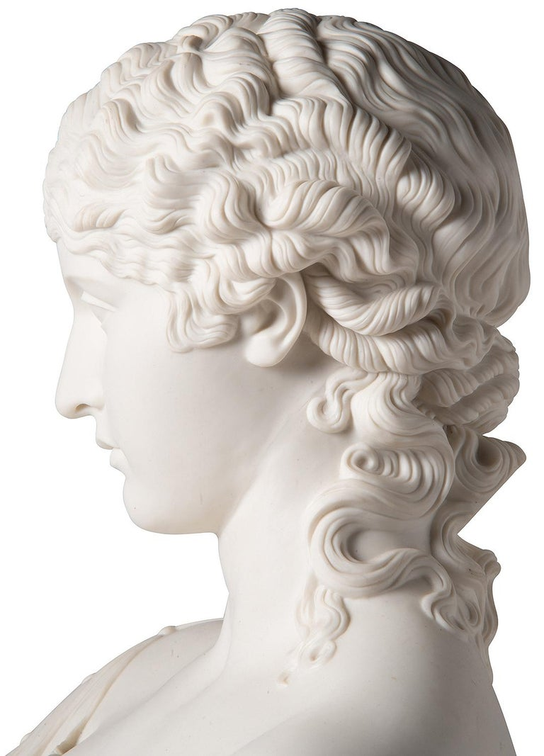 19th Century Neoclassical Female Parian Bust For Sale 1