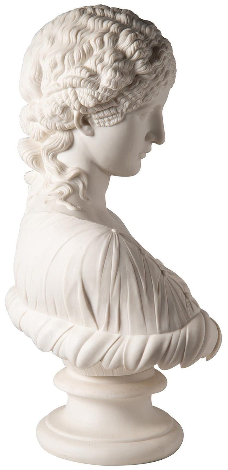 19th Century Neoclassical Female Parian Bust For Sale 4