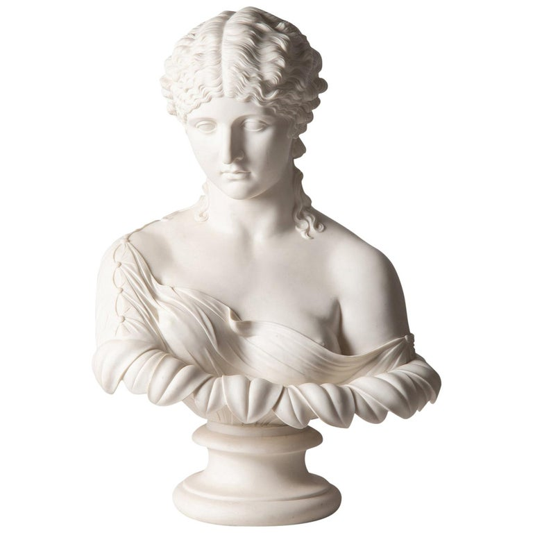 19th Century Neoclassical Female Parian Bust For Sale