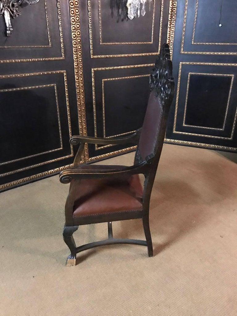 Oak 19th Century, Neo Renaissance Armchair For Sale