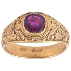 19th Century Neo-Renaissance Gold and Ruby Ring