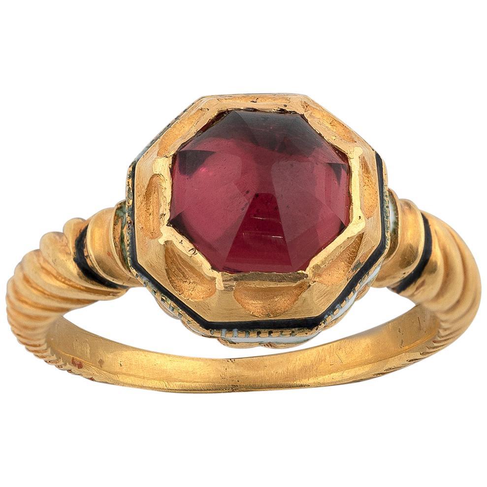 19th Century Neo-Renaissance Gold and Tourmaline Ring