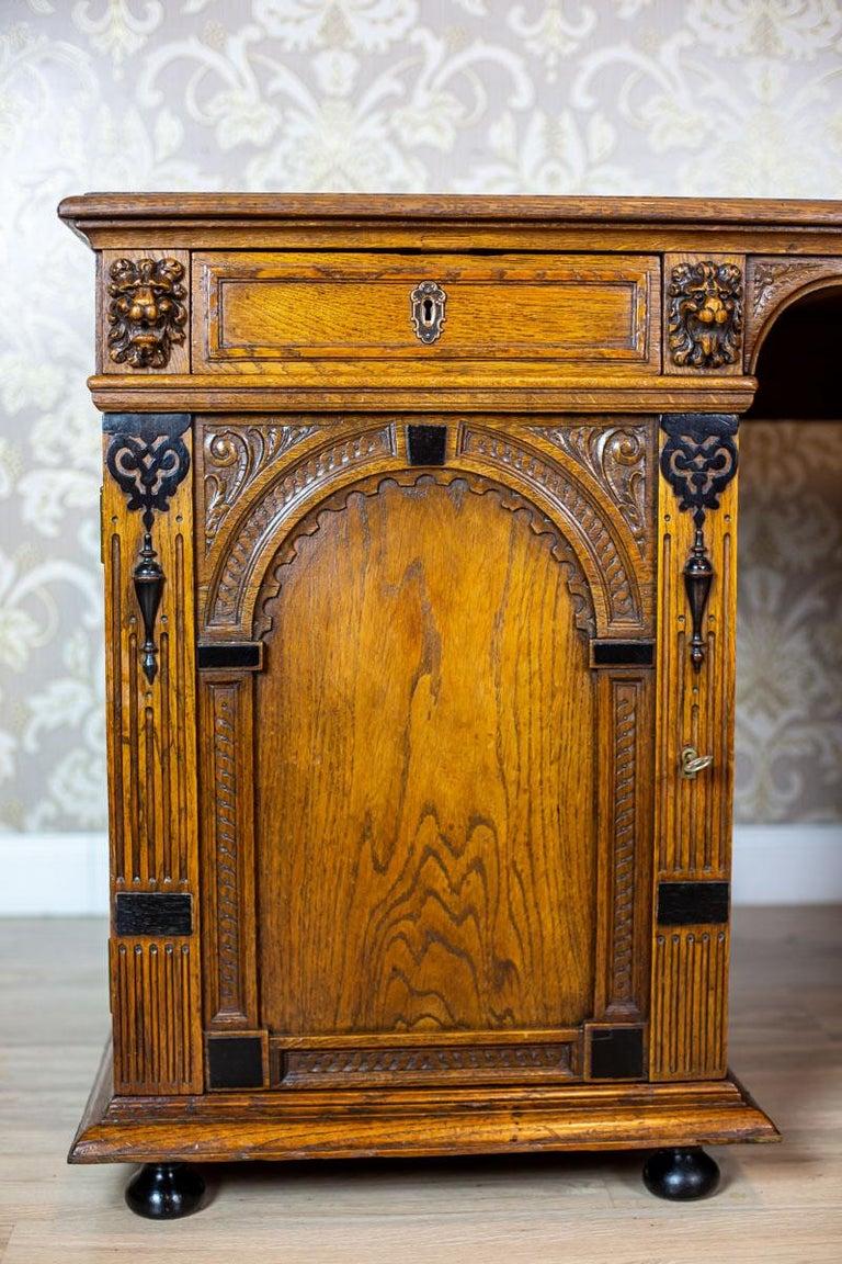 Dutch 19th Century Neo-Renaissance Oak Desk For Sale