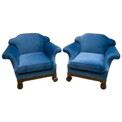 19th Century, Neo Renaissance Pair of Velvet-Covered Armchairs Made of Oak