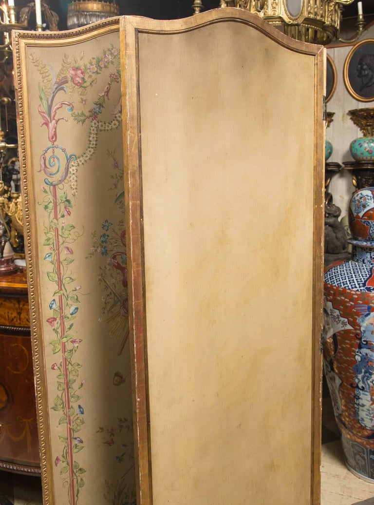 19th Century Neoclassic Style Painted Wood Screen For Sale 3