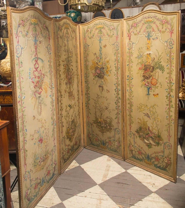 Painted in the Louis XVI neoclassic style on four panels of wood. The back is plain.