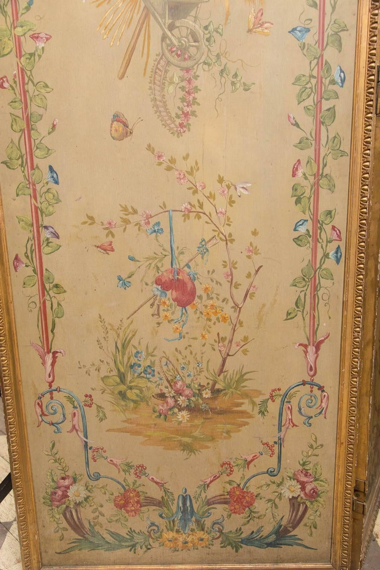 19th Century Neoclassic Style Painted Wood Screen In Good Condition For Sale In Woodbury, CT