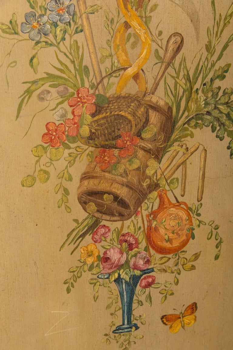 19th Century Neoclassic Style Painted Wood Screen For Sale 1