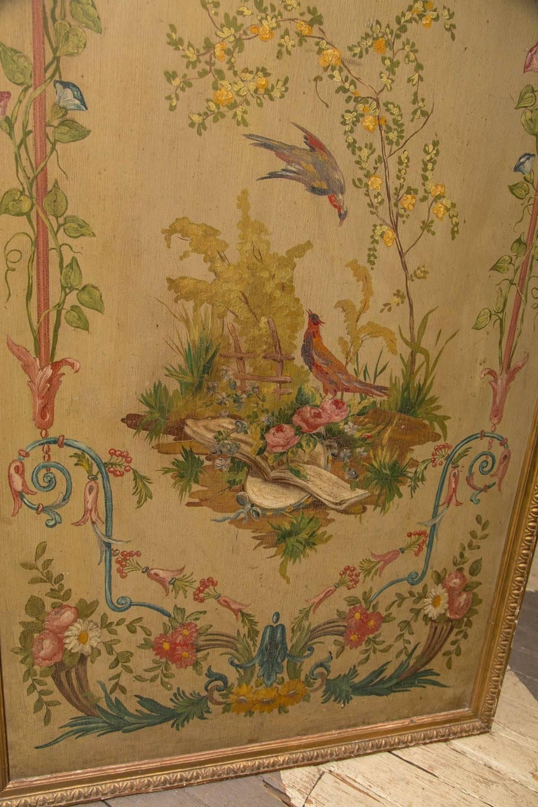 19th Century Neoclassic Style Painted Wood Screen For Sale 2