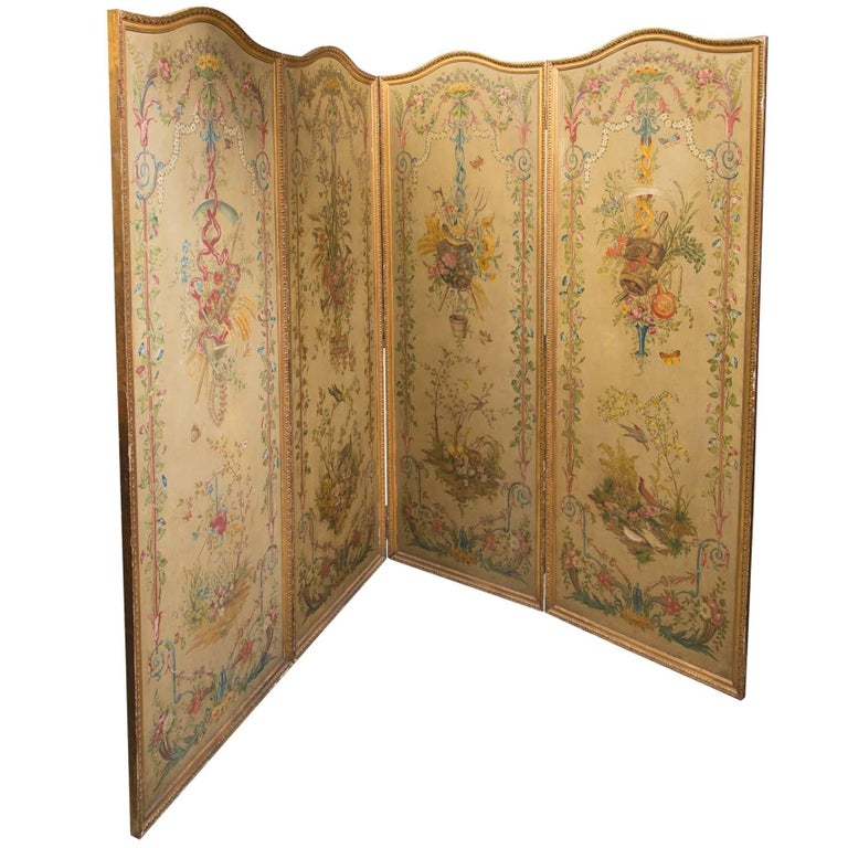 19th Century Neoclassic Style Painted Wood Screen For Sale