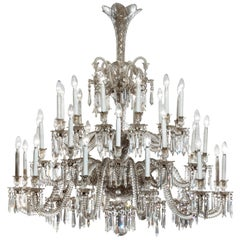 19th Century Neoclassical Baccarat Crystal and Glass 36-Light Crystal Chandelier