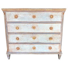 19th Century Neoclassical Blue, Grey Swedish Gustavian Chest, Pinewood Commode