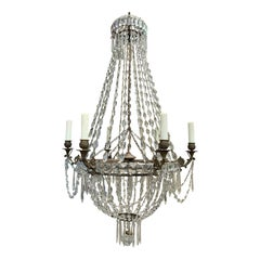 19th Century Neoclassical Bronze and Crystal Six-Arm Chandelier