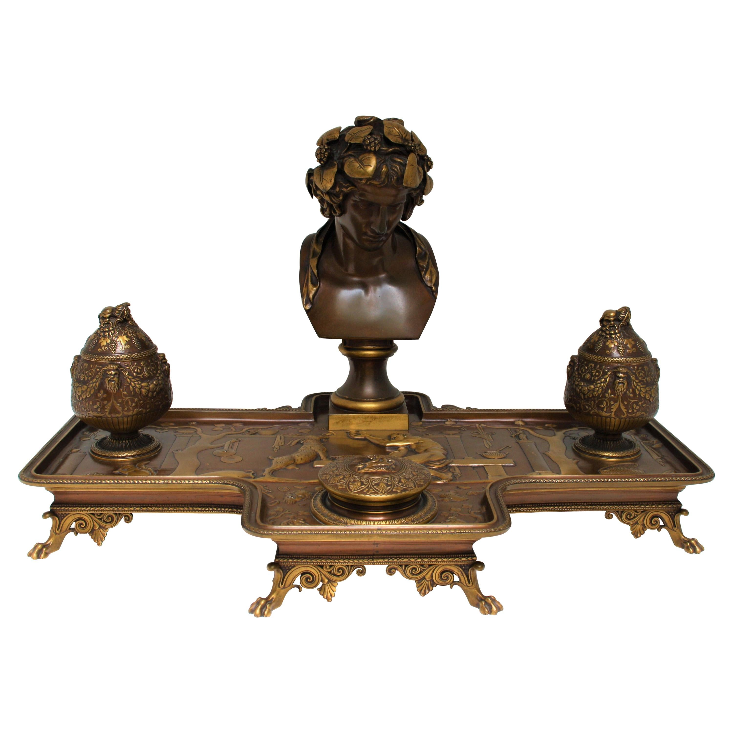 19th Century Neoclassical Bronze Desk Set by F. Levillain and F. Barbedienne