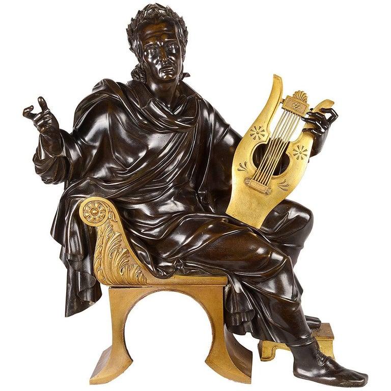 19th Century Neoclassical Bronze Musician