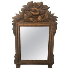 19th Century Neoclassical Carved Giltwood Mirror with Mandolin