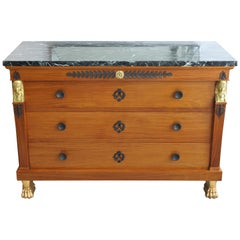 19th Century Neoclassical Chest of Drawers with Marble Top