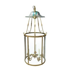 19th Century Neoclassical Curved Glass and Brass Lantern with Smoke Bell