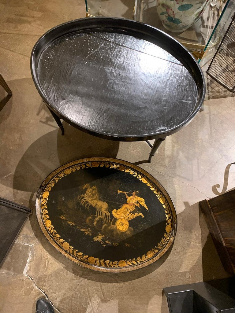 19th Century Neoclassical Gilt Decorated Tray Coffee Table with Custom Base For Sale 10